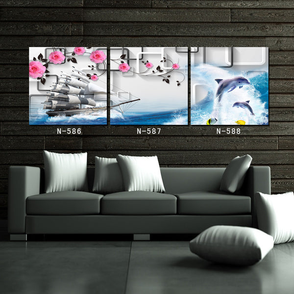 Stunning Dolphin and Flower Themed 3 Piece Wall Art