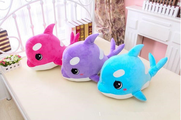 Cuddly Large Eyes Dolphin Plush Toys - available in blue, purple or pink