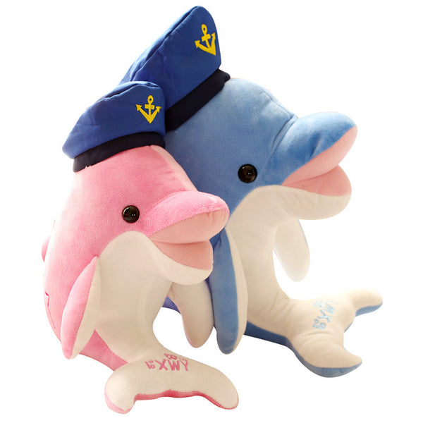 Cute Plush Navy Cap Dolphin Plush Toy - Available in Pink and Blue