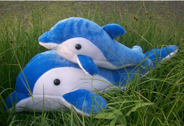 Cute White/Blue Stuffed Dolphin Plush Toy