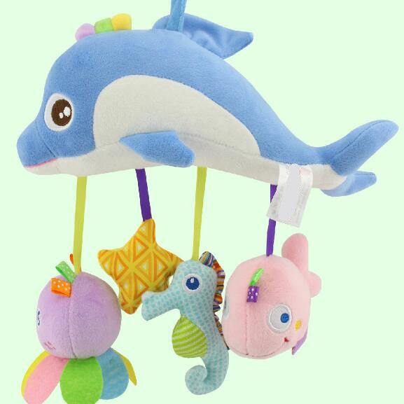 Infant Cartoon Dolphin Plush Hanging Baby Rattles