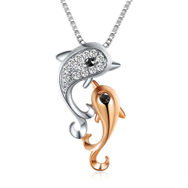 Intricate White Gold Inlay Rhinestone Double Dolphin Necklace