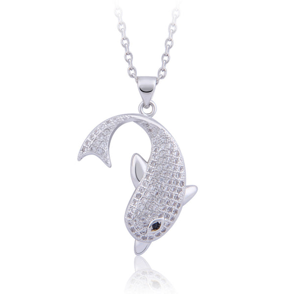 Adorable 18 K Gold Plated Leaping Dolphin Necklace and Pendant