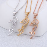 Elegant 18 K Gold Plated Entwined Wave Dolphin Necklace