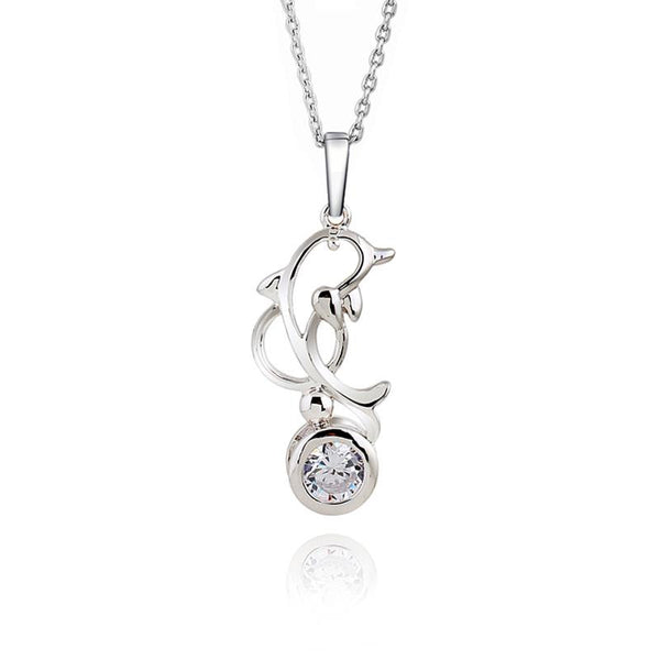 Trendy AAA Zircon Dolphin Necklace and Pendant