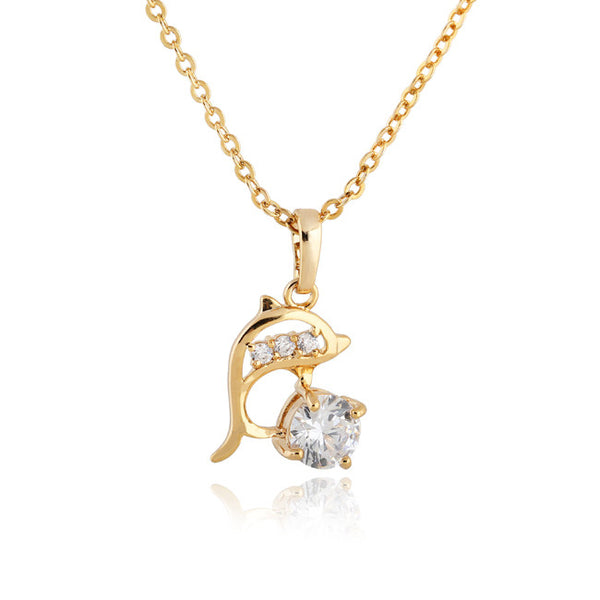 Stunning 18 K Gold Plated Round CZ Dolphin Necklace and Pendant
