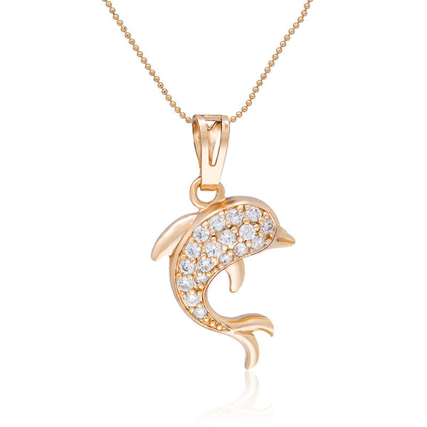 18 k Rose Gold Plated Stone Studded Dolphin Pendant Necklace