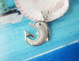 Classy Silver Plated Cubic Zirconia Encrusted Dolphin Pendant (necklace not included)