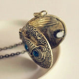 Occident Retro Vintage Crystal Charms Blue Eye Owl Locket Pendant Necklace - For Women