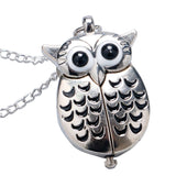 Cute Silver Vintage Night Owl Quartz Pocket Watch Necklace Pendant