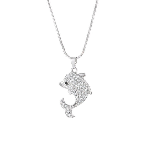 Elegant Rhinestone Crystal Filled Dolphin Necklace & Pendant