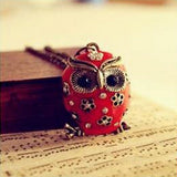 Super Cute Crystal Rhinestones Vintage Long Chain Owl Pendant Necklace