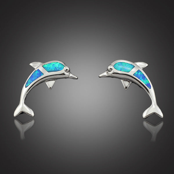 Elegant Blue Fire Opal Stone Dolphin Earrings