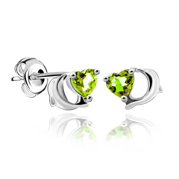 925 Sterling Silver Natural Green Peridot Earring Stud With Heart Gemstone