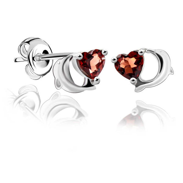 Lovely Dolphin Natural Red Garnet Stud Earrings