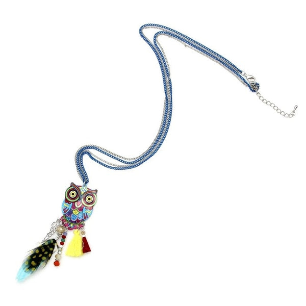 Stunning Long Chain Multicolor Owl Pendant Necklaces With Feather Crystal Bead Tassel For Women