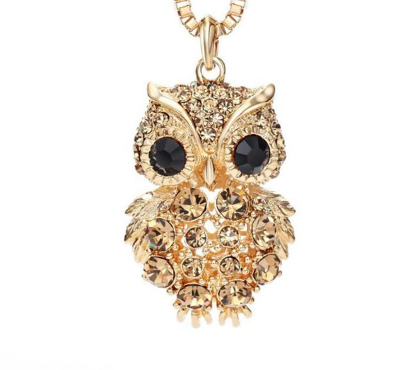 Intricate Czech Rhinestone Light Yellow Gold Fashion Owl Necklaces for Women