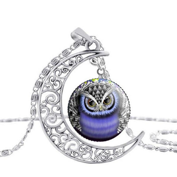 Hot Owl Round Glass Moon Pendant Necklaces -