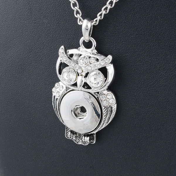 New Elegant Silver White Rhinestone Xinnver Snaps Necklace & OWL Pendant