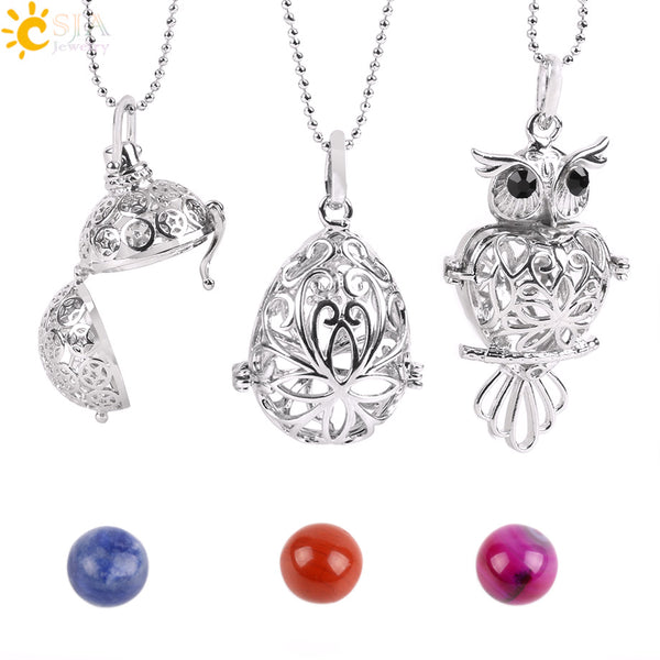 Natural  Stone Beads Hollow Carved Owl Locket Pendant Necklace - (also available in Round Ball & Egg)