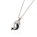 925 Sterling Silver White Black Cubic Zirconia Dolphin Necklace