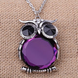 Cute Natural Purple Stone Cute Animal Pendant Necklace Jewelry - Vintage Long Chain