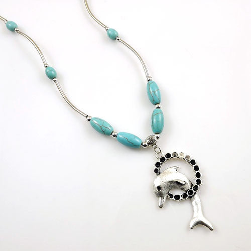 Tibetan Silver Turquoise Vintage Dolphin Necklace