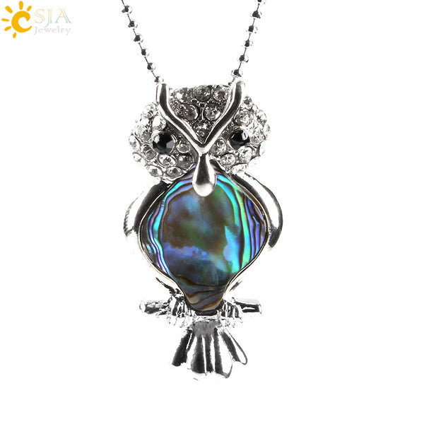 Standing Owl Shape Paua Shell Abalone Series Necklace and Pendant