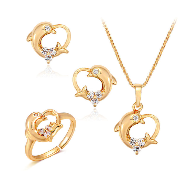 18K Yellow Gold Plated Dolphin Heart Charm Jewelry Set