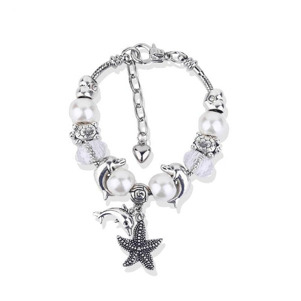 Antique Silver Dolphin Starfish White Pearl Charm Bracelet - New Design