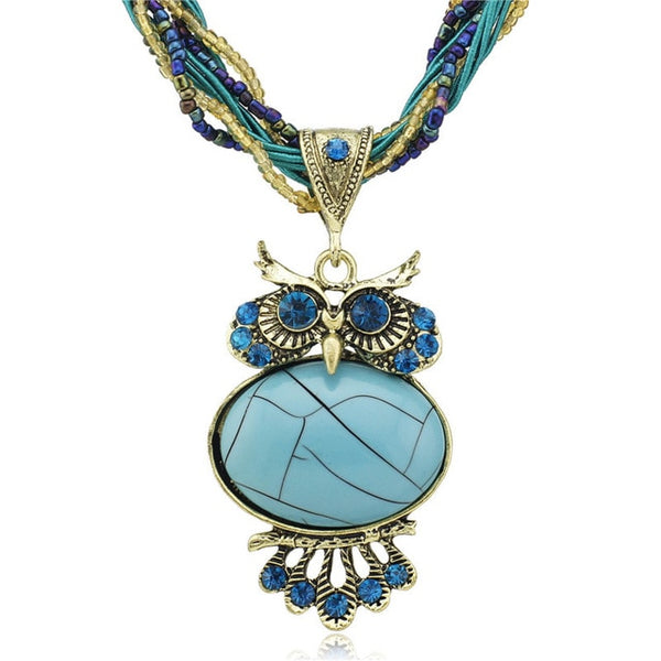 Bohemia Stunning Crystal Owl Chunky Gem Bronze Rope Chain Pendant Necklace - 8 Colours Available