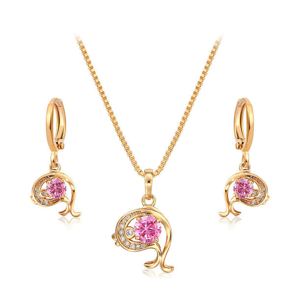 18K Gold Plated Pink Sapphire Dolphin Jewelry Set