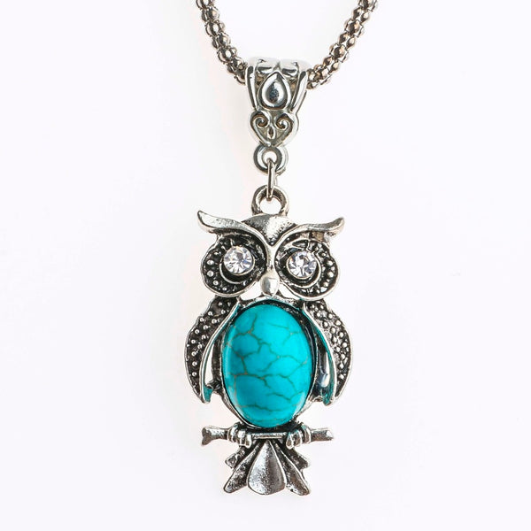 Bohemian Crystal Eyes Blue Natural Stone Owl Charm Necklace - Fashion Jewelry