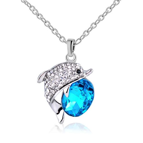 Beautiful Crystal Rhinestone Dolphin Pendant With Chain Necklace