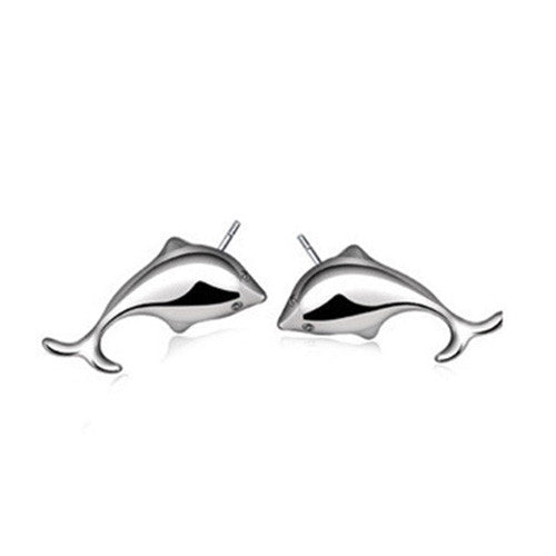Tiny  Silver Dolphin Stud Earrings