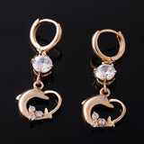 18K Gold Plated White Crystal Zircon Long Drop Dolphin Earrings For Women