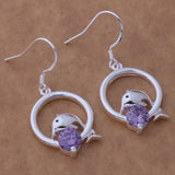Charming Silver Plated Personality Dolphin Amethyst Earrings