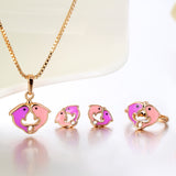 18K Gold Plated Purple Pink Double Dolphin Jewelry Set