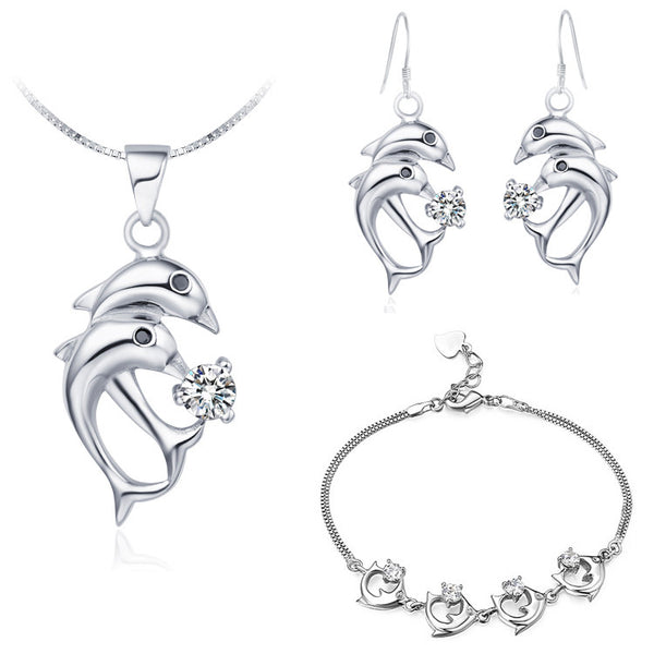 Silver Plated Zircon Dolphin Jewelry Set
