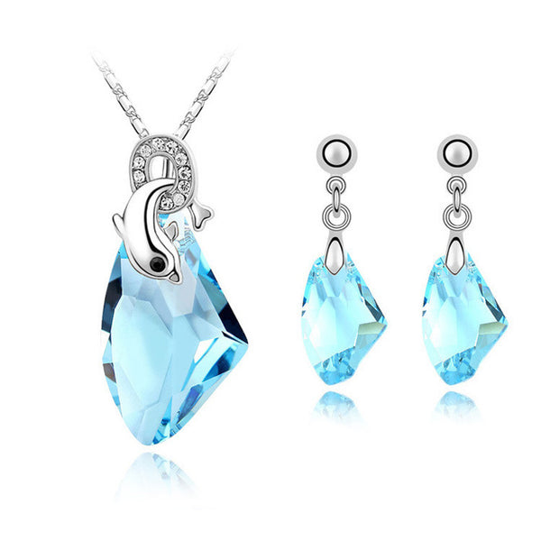 Crystal Dolphin Jewelry Set in 4 colours