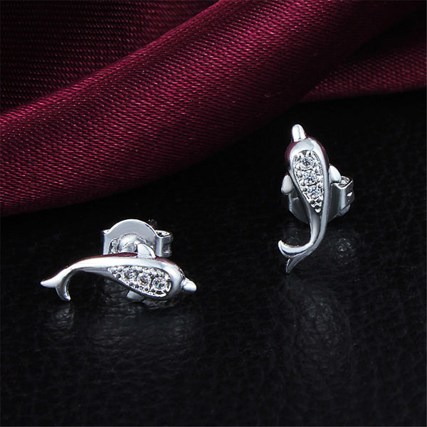925 Sterling Silver Plated Jumping Dolphin Earrings