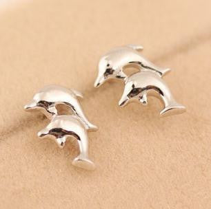 Silver Plated Simple & Elegant Dolphin Earrings