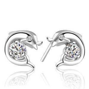 925 Sterling Silver Plated Dolphin Earrings For Women