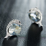 Crystal Dolphin Stud Earrings featuring Swarovski