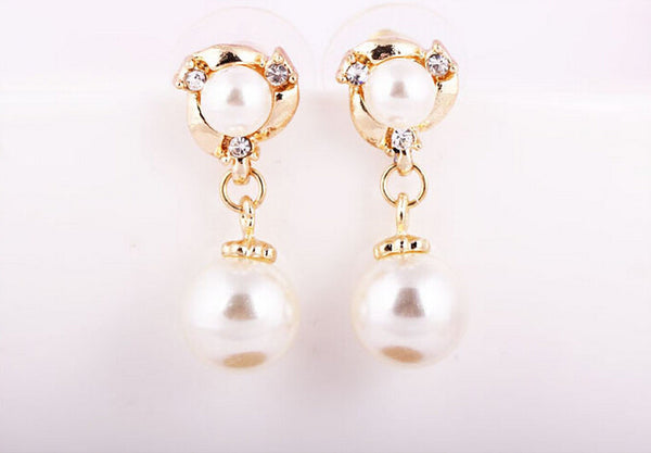 Lovely dolphin Pearl Earring - Silver & Gold Colour