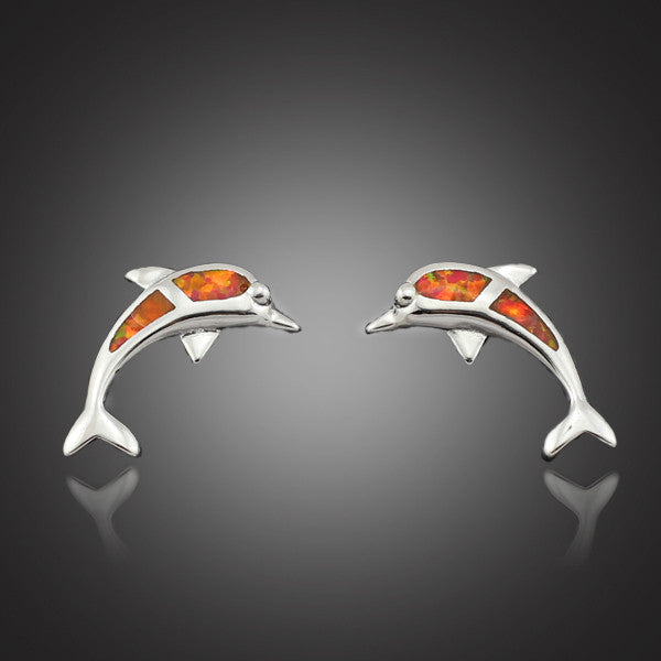 Elegant Orange Fire Opal Stone Dolphin Stud Earrings