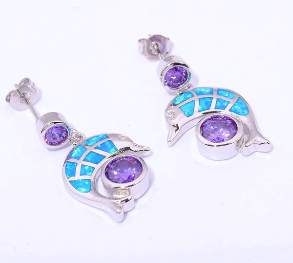 Elegant & Unique Blue Fire Opal & Amethyst Silver Stud Dolphin Earrings