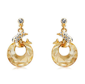 Lovely 18K gold plated dolphin earrings with crystal dome