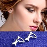 Silver Cute Dolphin Shape Earrings