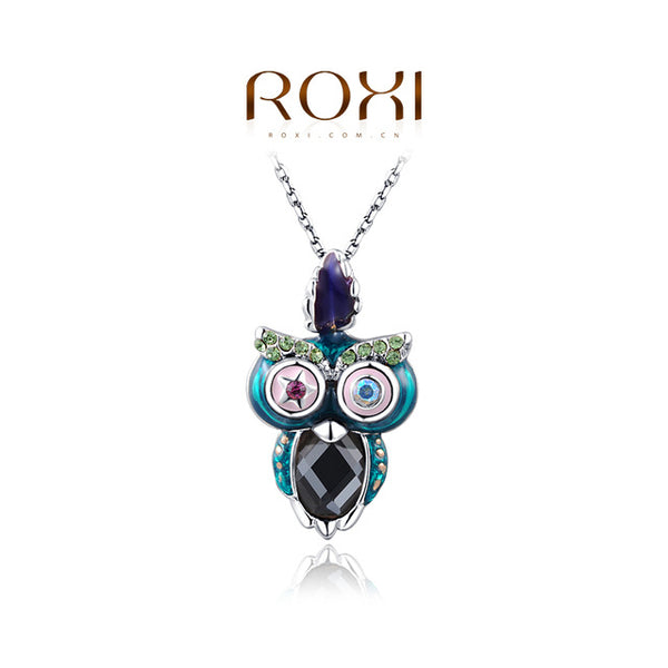 ROXI  New Design Rose Color Plated Owl Necklace - Statement Jewelry